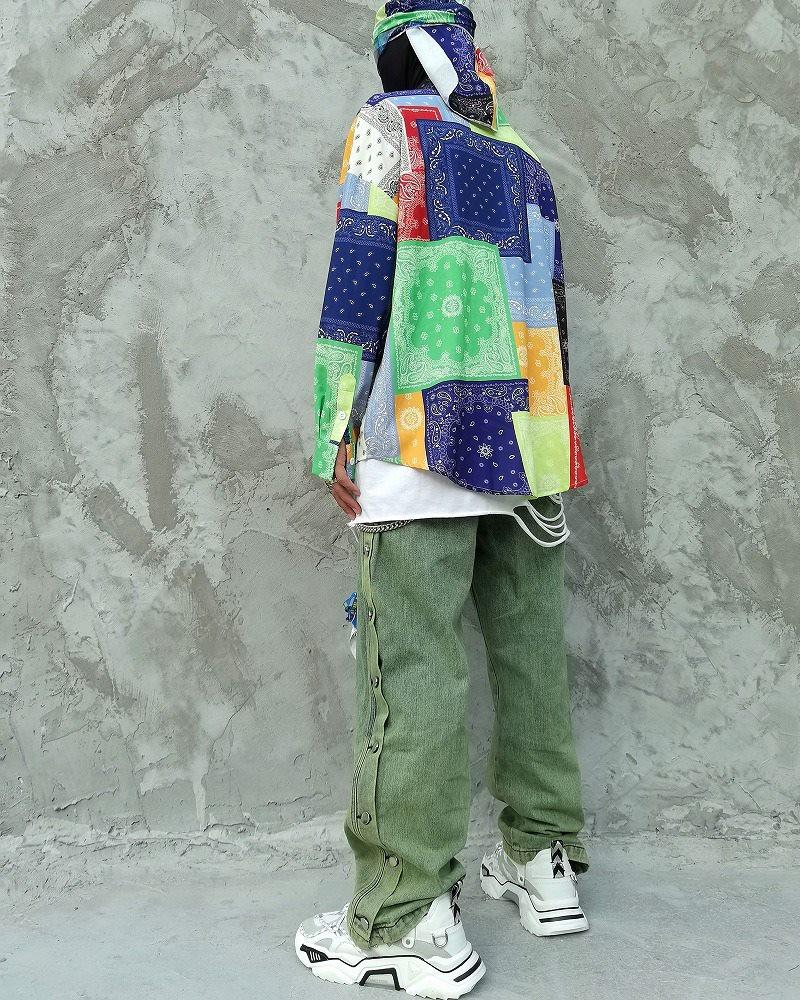 マルチカラーパッチワークバンダナ長袖シャツの画像3